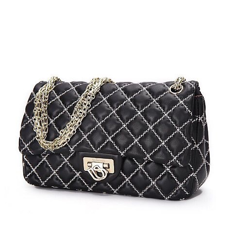 Cross-Stitch Quilted Sheepskin Chain Shoulder Bag for Women's